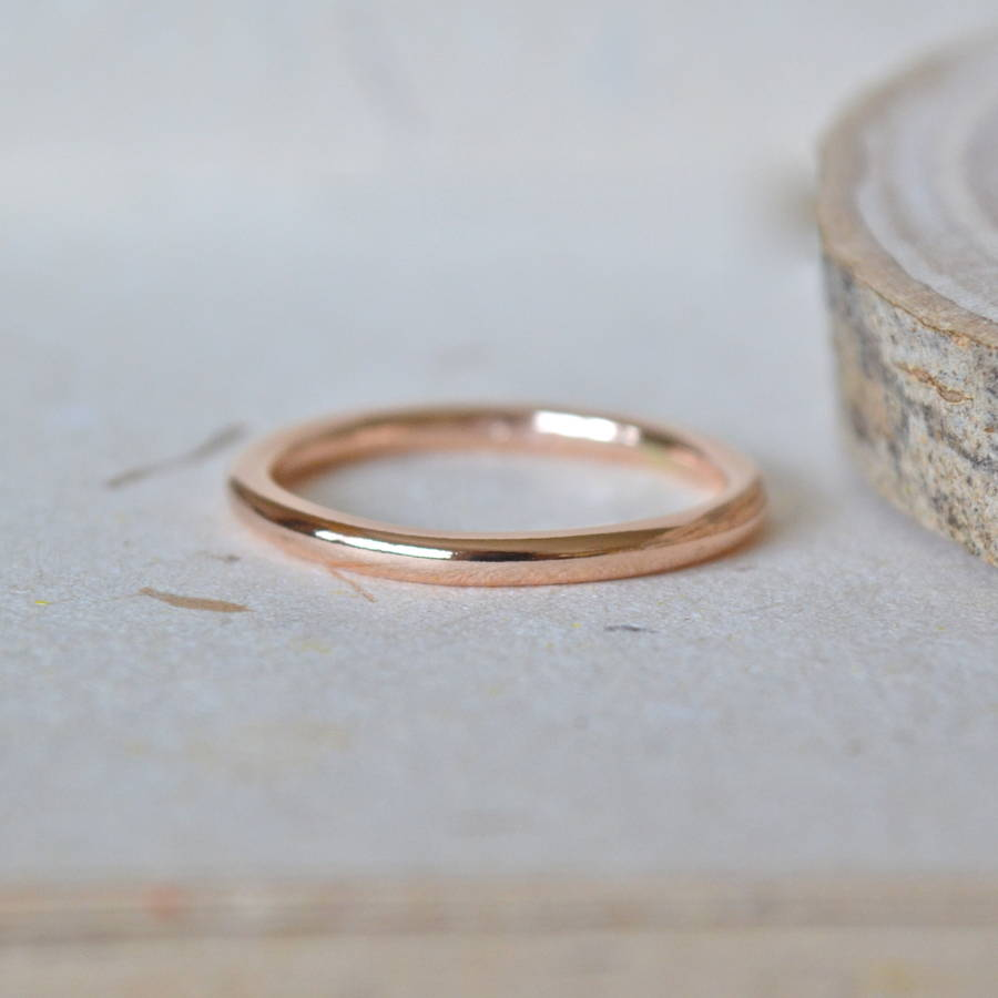 2mm 9carat rose gold wedding band 2mm wedding band 2mm Rose Gold Wedding Band