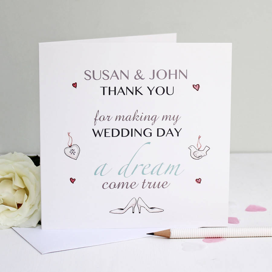 personalised dream wedding thank you card thank you cards wedding Personalised Dream Wedding Thank You Card