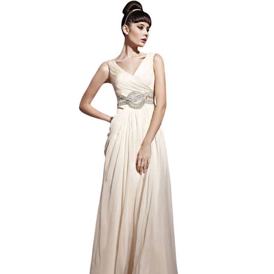 beige chiffon wedding dress with embellished belt beige wedding dresses Beige Chiffon Wedding Dress With Jewelled Belt