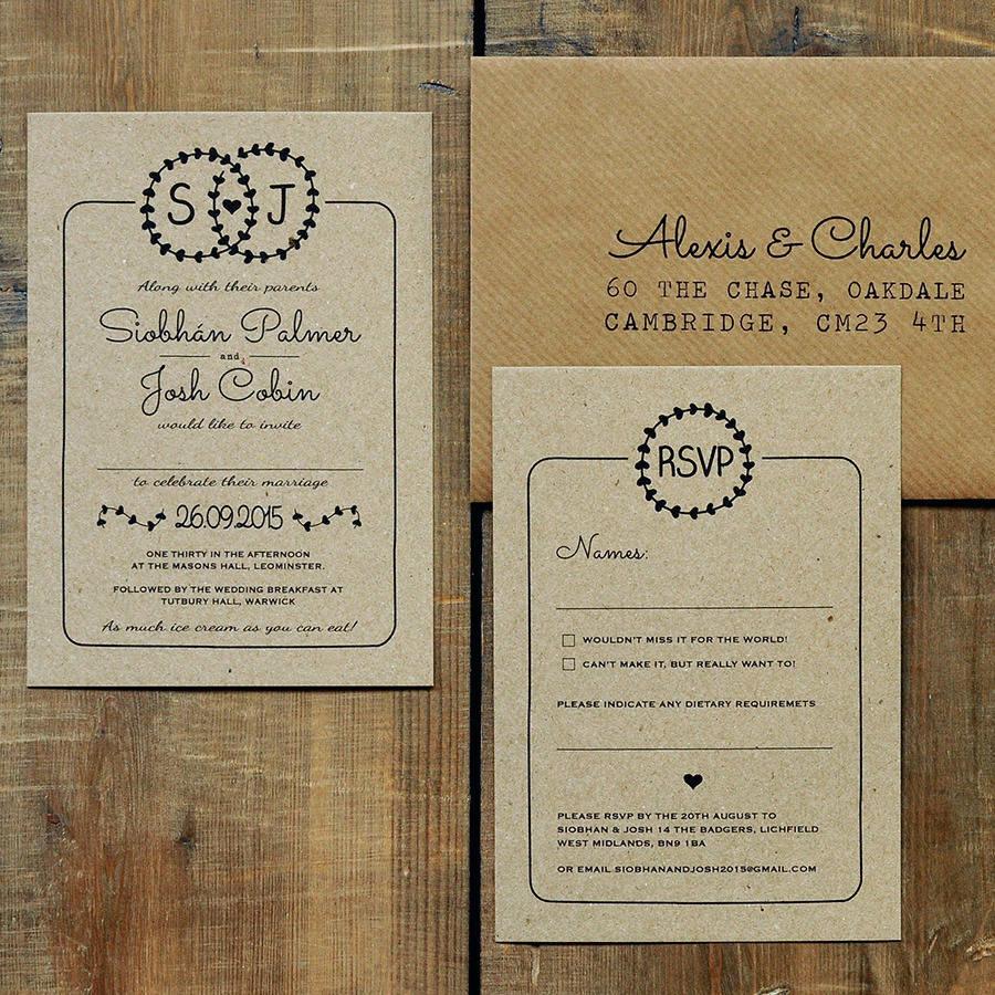 heart illustration kraft wedding invitation suite wedding invitation set Heart Illustration Kraft Wedding Invitation Set