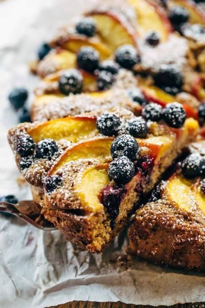Fresh Blueberry Peach Cake Recipe - Pinch of Yum