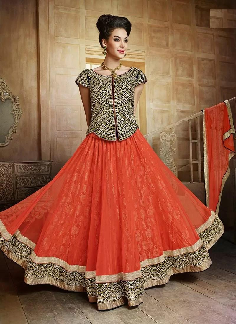 splendid orange net wedding lehenga choli wedding lehenga Splendid Orange Net Wedding Lehenga Choli