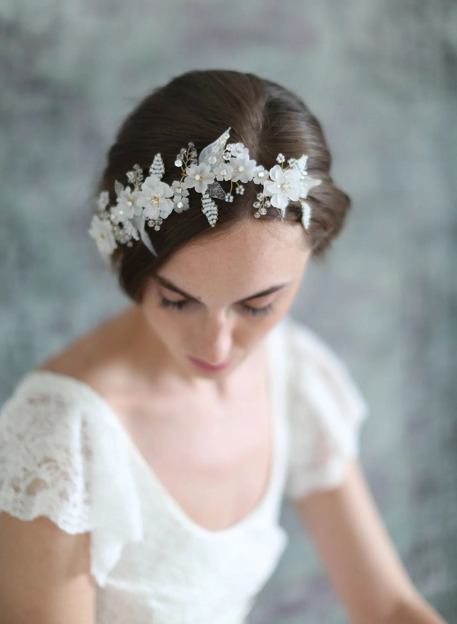 lightness and frost floral headpiece style wedding headpiece frosted floral bridal headpiece wedding headpiece bridal hair adornment twigs and honey