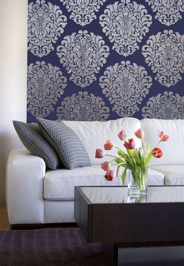 Large Trellis Wall Stencil | Acanthus Damask Wall Stencil for DIY Wallpaper