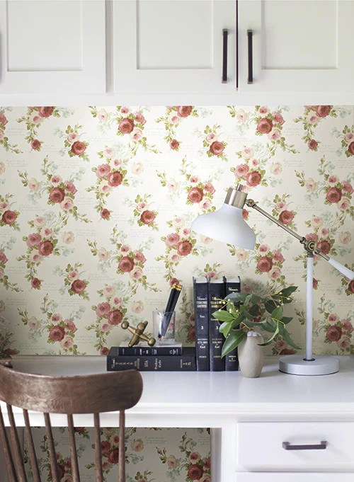 Heirloom Rose Wallpaper in Red and White from the Magnolia Home Collec – BURKE DECOR