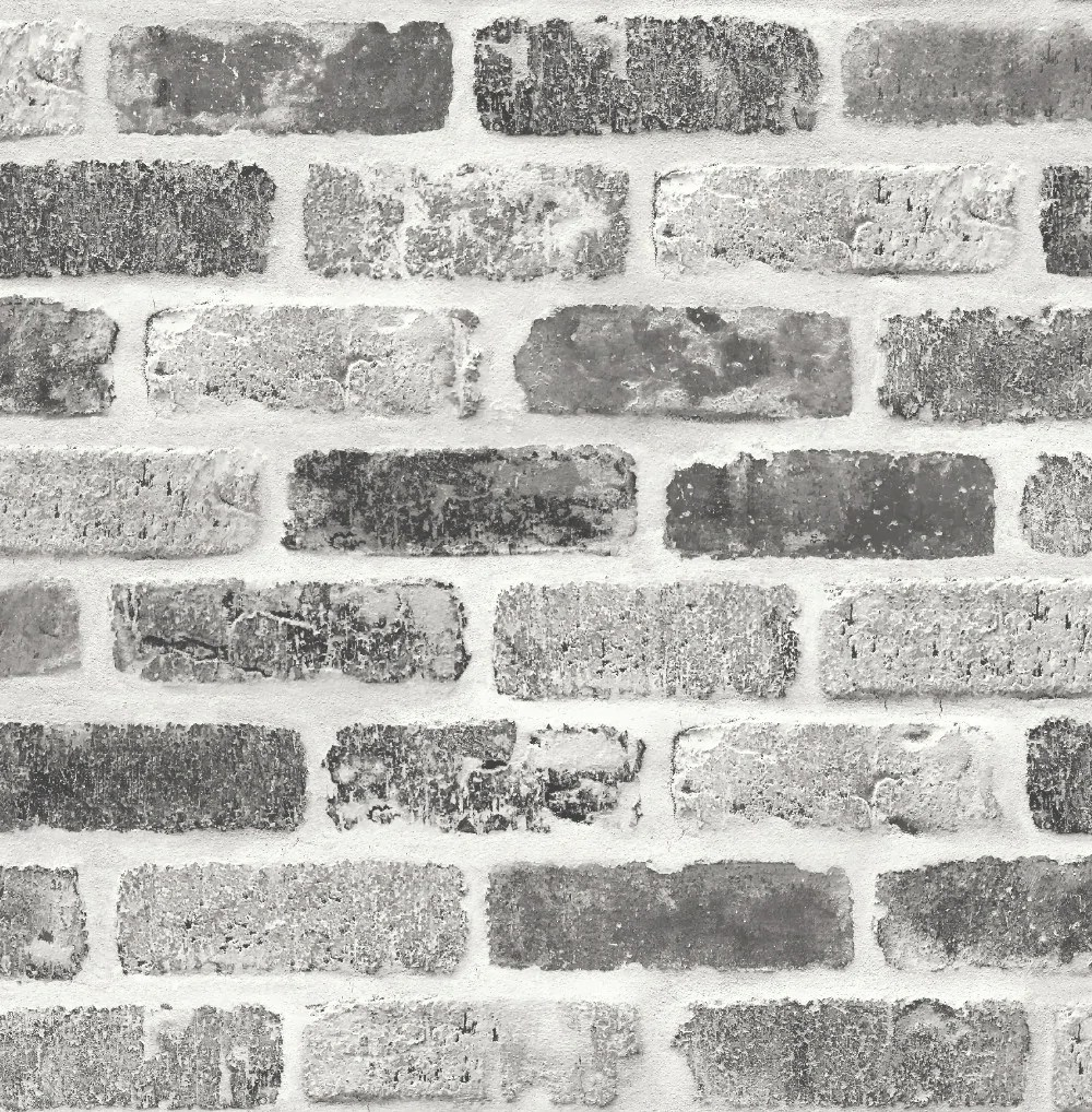 Washed Faux Brick Peel-and-Stick Wallpaper in Greys by NextWall – BURKE DECOR