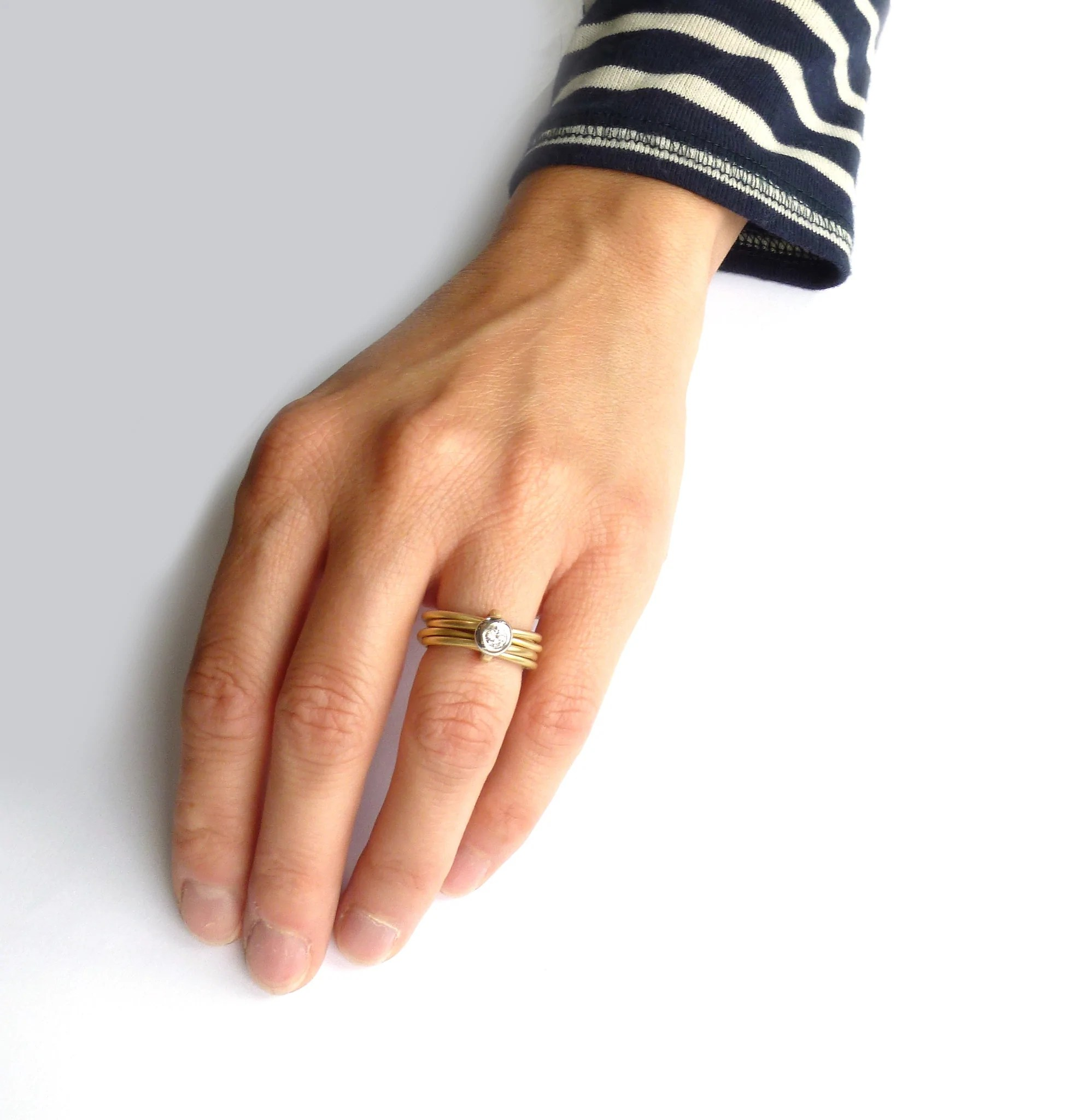 18k gold and platinum 6 band ring rd15plat multi band wedding ring Contemporary bespoke and modern yellow gold multi band engagement wedding ring 0 25pt round