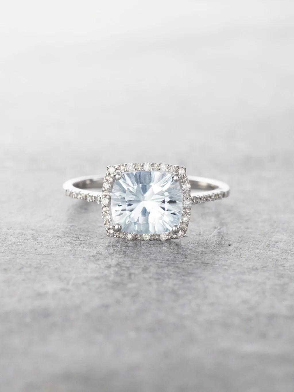 aquamarine diamond cushion cut cocktail ring aquamarine wedding rings 14K Aquamarine Diamond Halo Ring