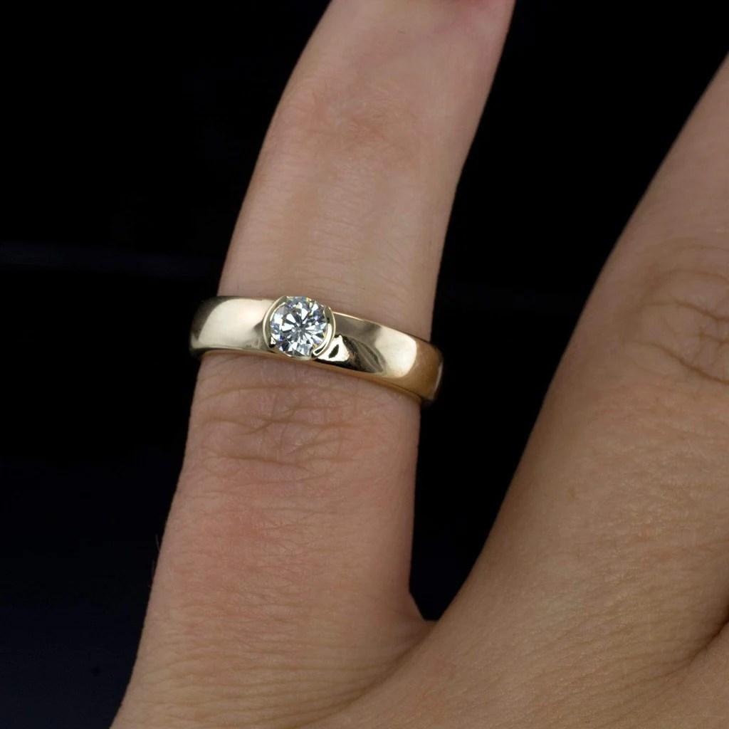 low profile wedding rings low profile wedding ring Low profile wedding rings Round Diamond Modern Low Profile Half Bezel Engagement Ring