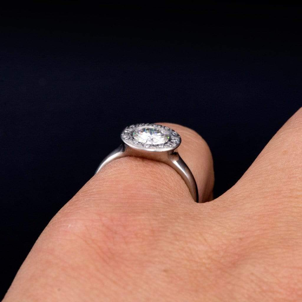 hand engraved profile solitaire engagement ring in platinum low profile wedding ring Hand Engraved Profile Solitaire Engagement Ring in Platinum