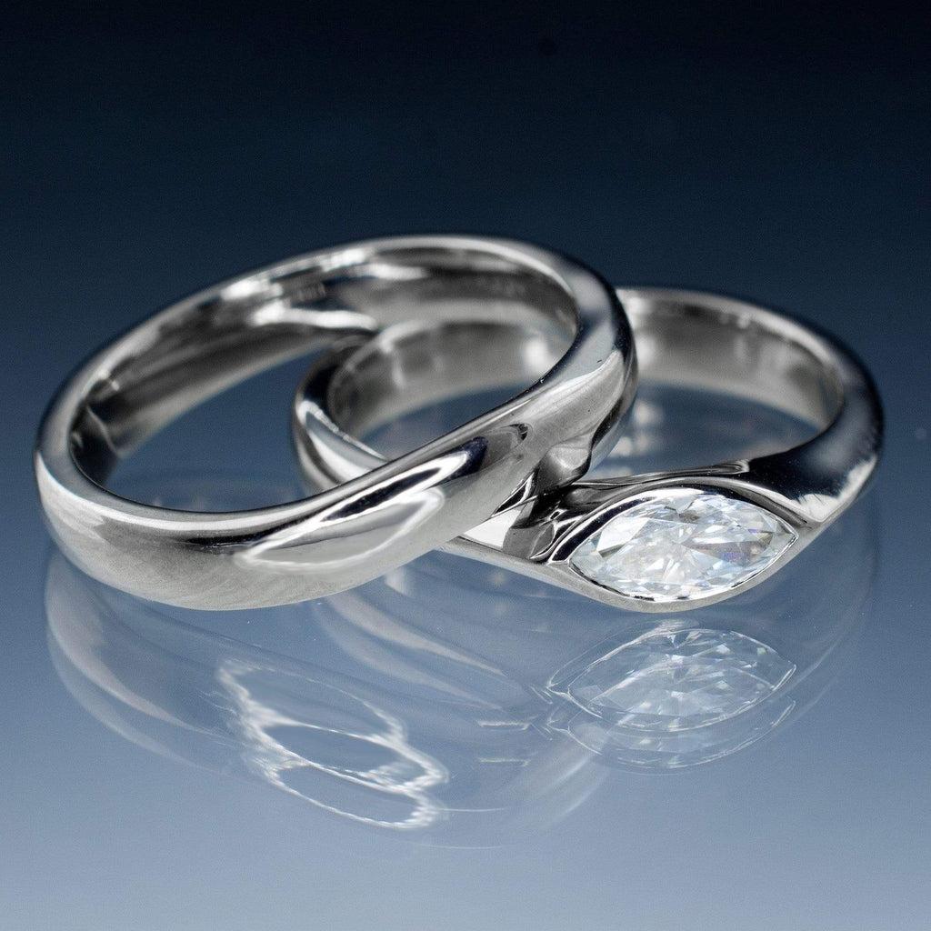 marquise moissanite bezel engagement wedding ring bridal set wedding ring bridal set Marquise Moissanite Bezel Engagement Wedding Ring Bridal Set