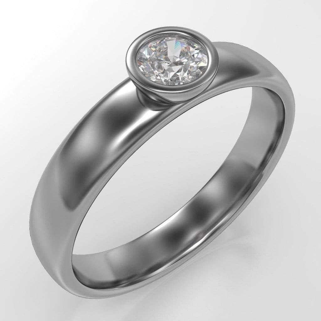round diamond modern low profile bezel set wedding ring low profile wedding ring Round Diamond Modern Low Profile Bezel Set Engagement Ring