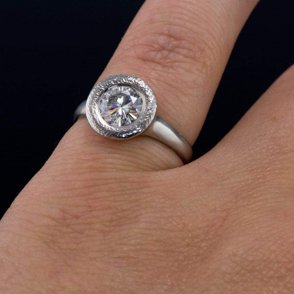 low profile black diamond engagement ring in white gold low profile wedding ring Low Profile Black Diamond Engagement Ring in White Gold