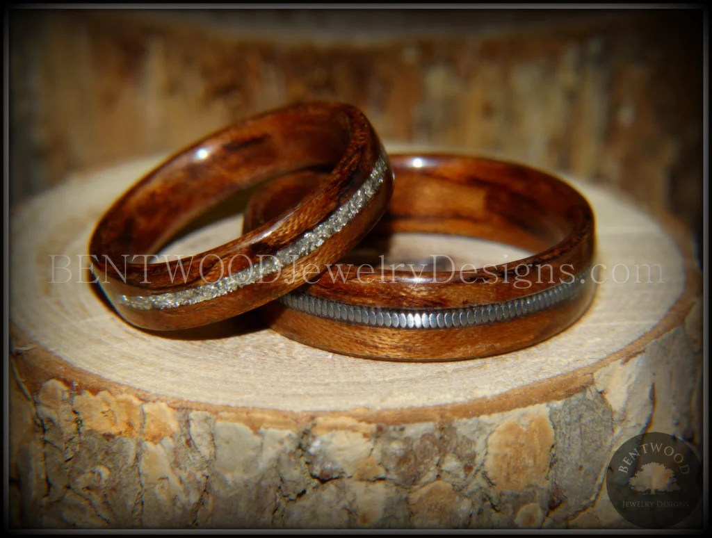 ebony maple pearl wooden wedding rings wooden wedding rings A pair of ebony and birds eye maple wedding rings with crushed pearl inlay