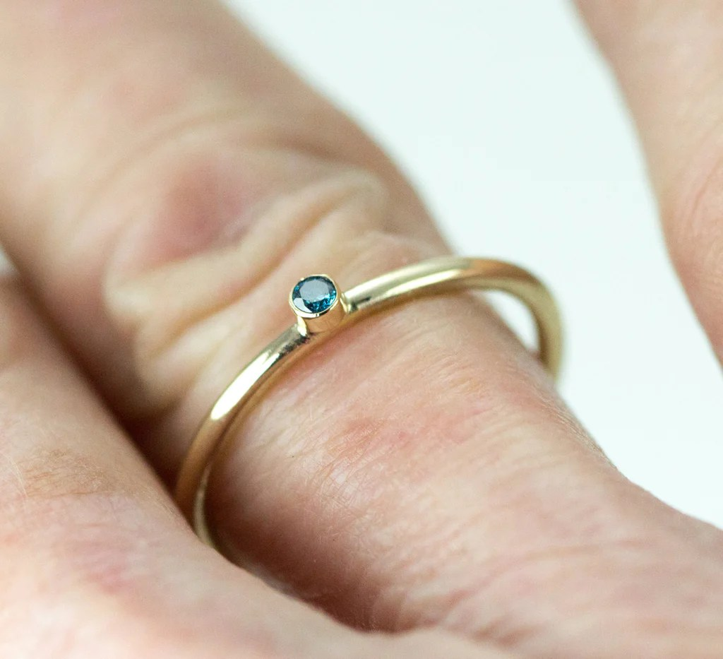 tiny blue diamond engagement ring 14k or 18kgold tiny wedding ring Tiny Blue Diamond Engagement Ring 14k Or 18kGold