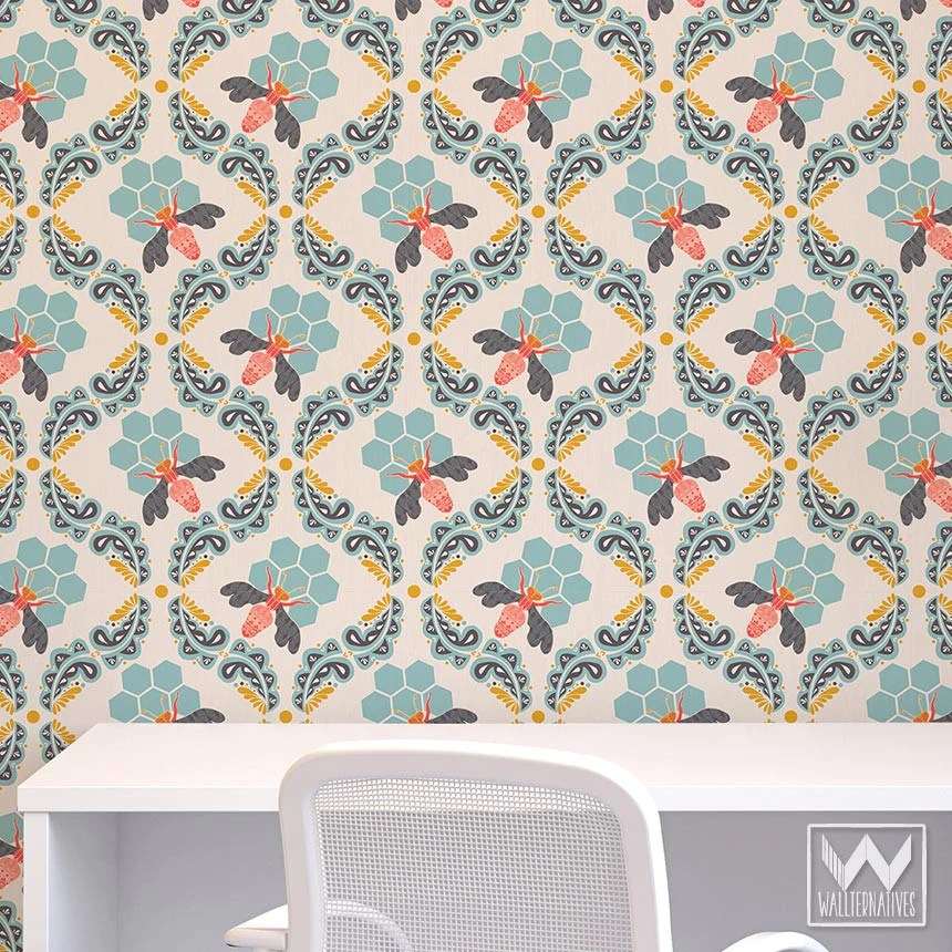 Bonnie Christine's Sweet Honey Bee Pattern is a Removable Wallpaper | Wallternatives