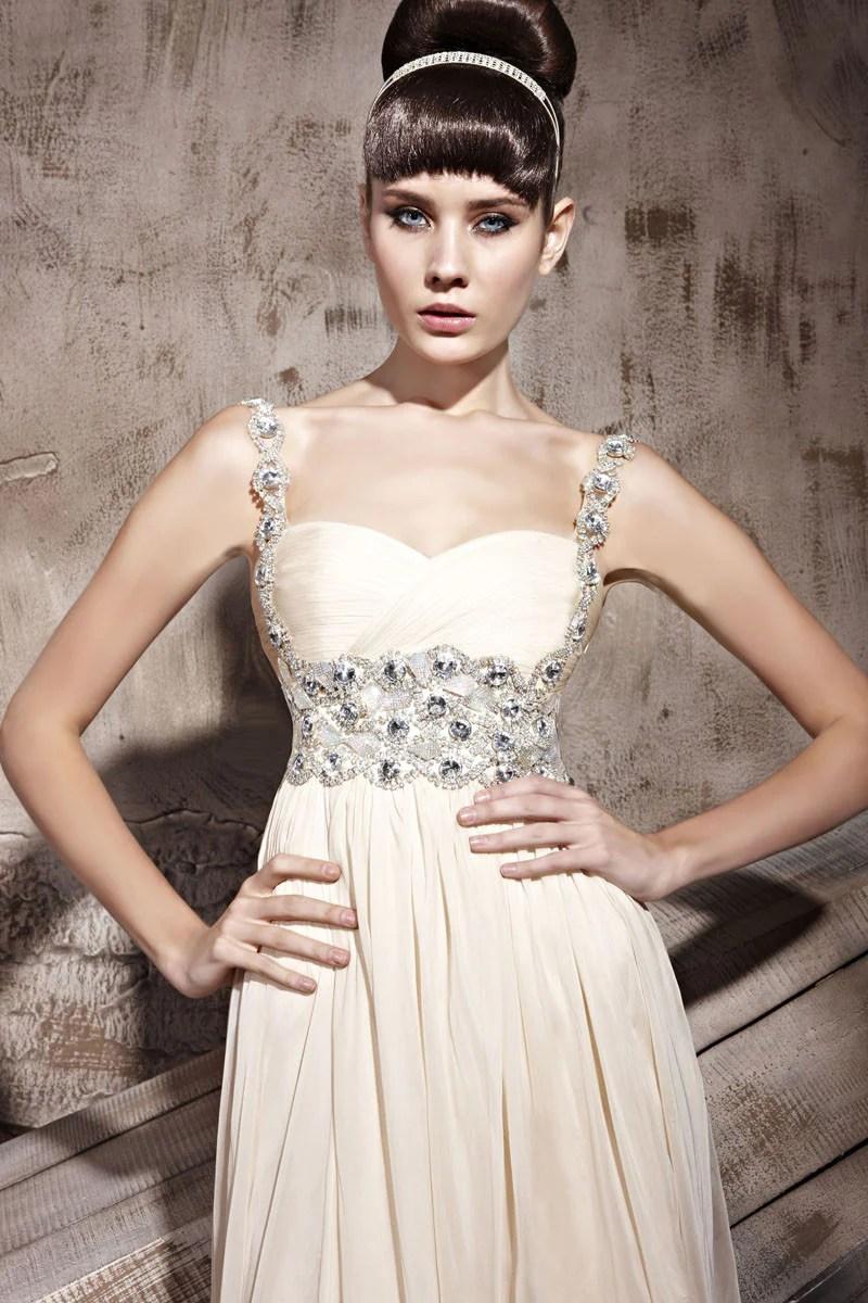ruche beige wedding dress with jeweled straps jeweled wedding dress Elliot Claire Ruche Ivory Wedding Dress With Jeweled Straps