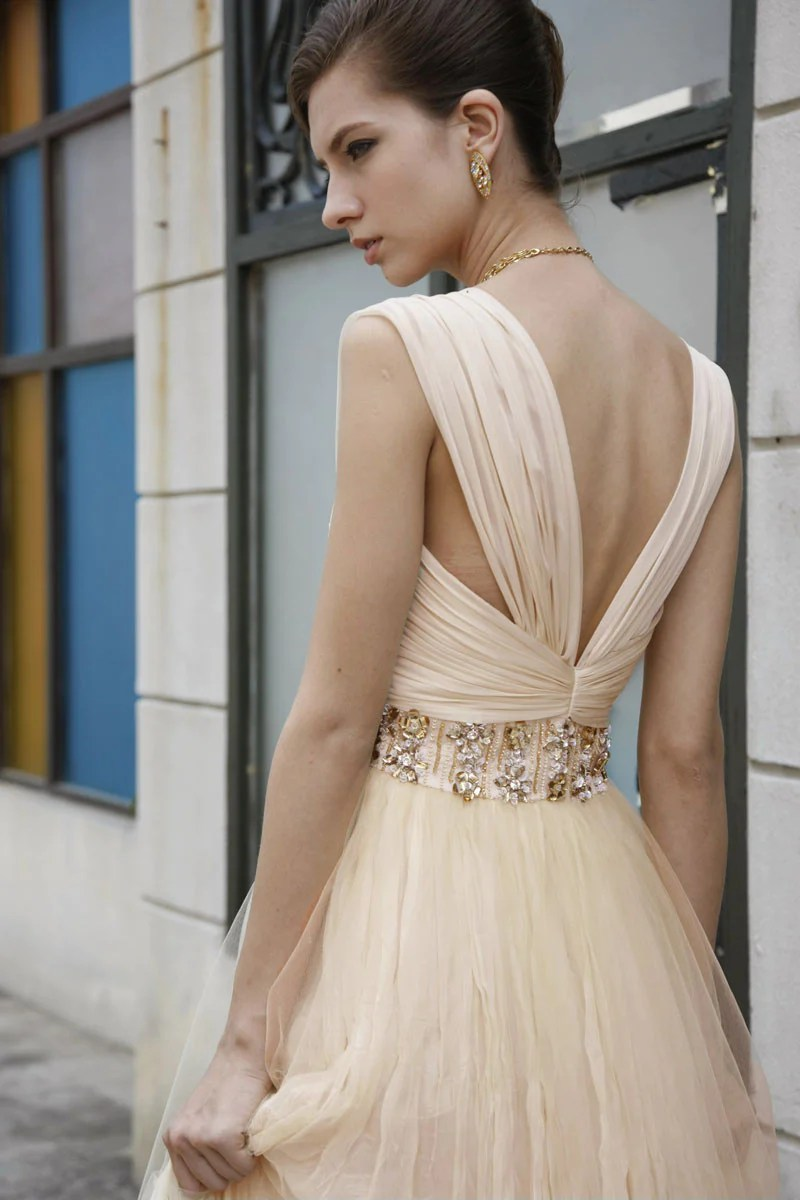 copy of classic beige wedding dress with embellished belt made to order beige wedding dresses Elliot Claire Classic Beige Wedding Dress with Embellished Belt