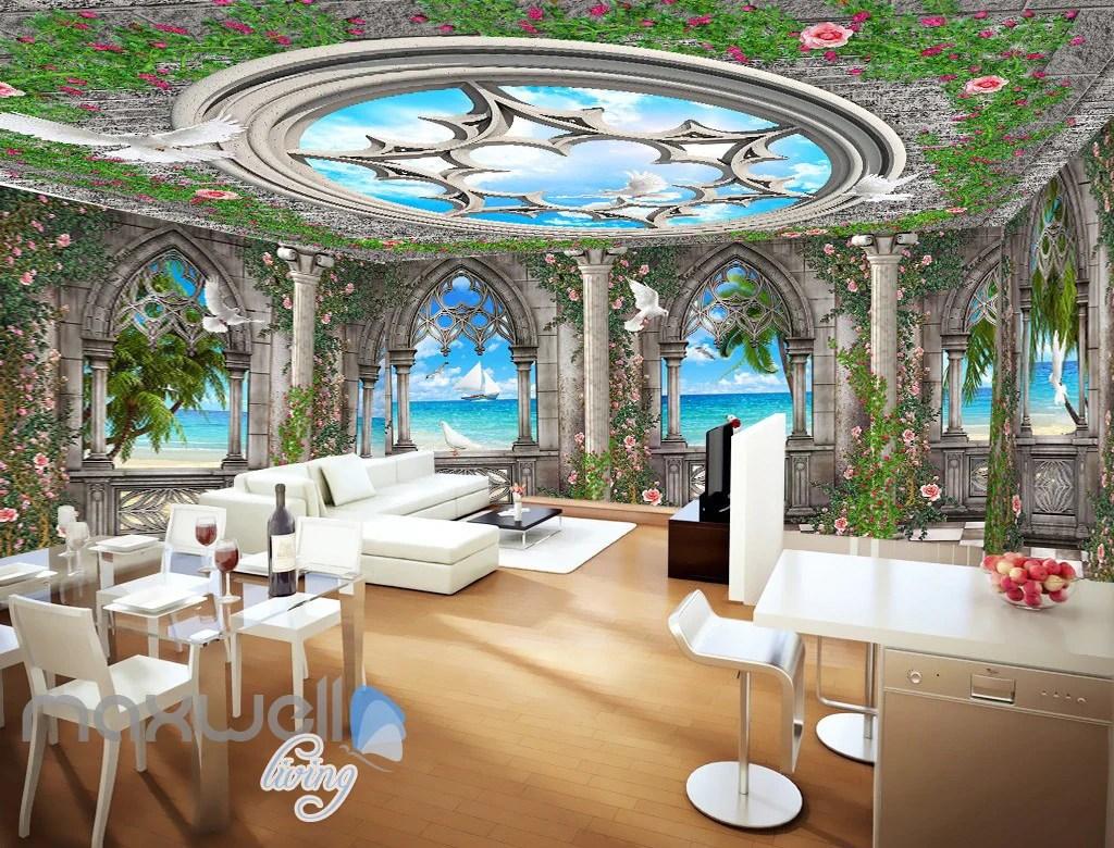 3D Arch Window Ocean View Sky Ceiling Wall Murals Wallpaper Art Print – IDecoRoom
