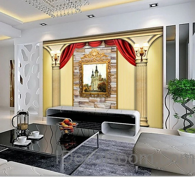 3D Castle Painting Roman pillars Wall paper Wallpaper Wall Decals Wall – IDecoRoom