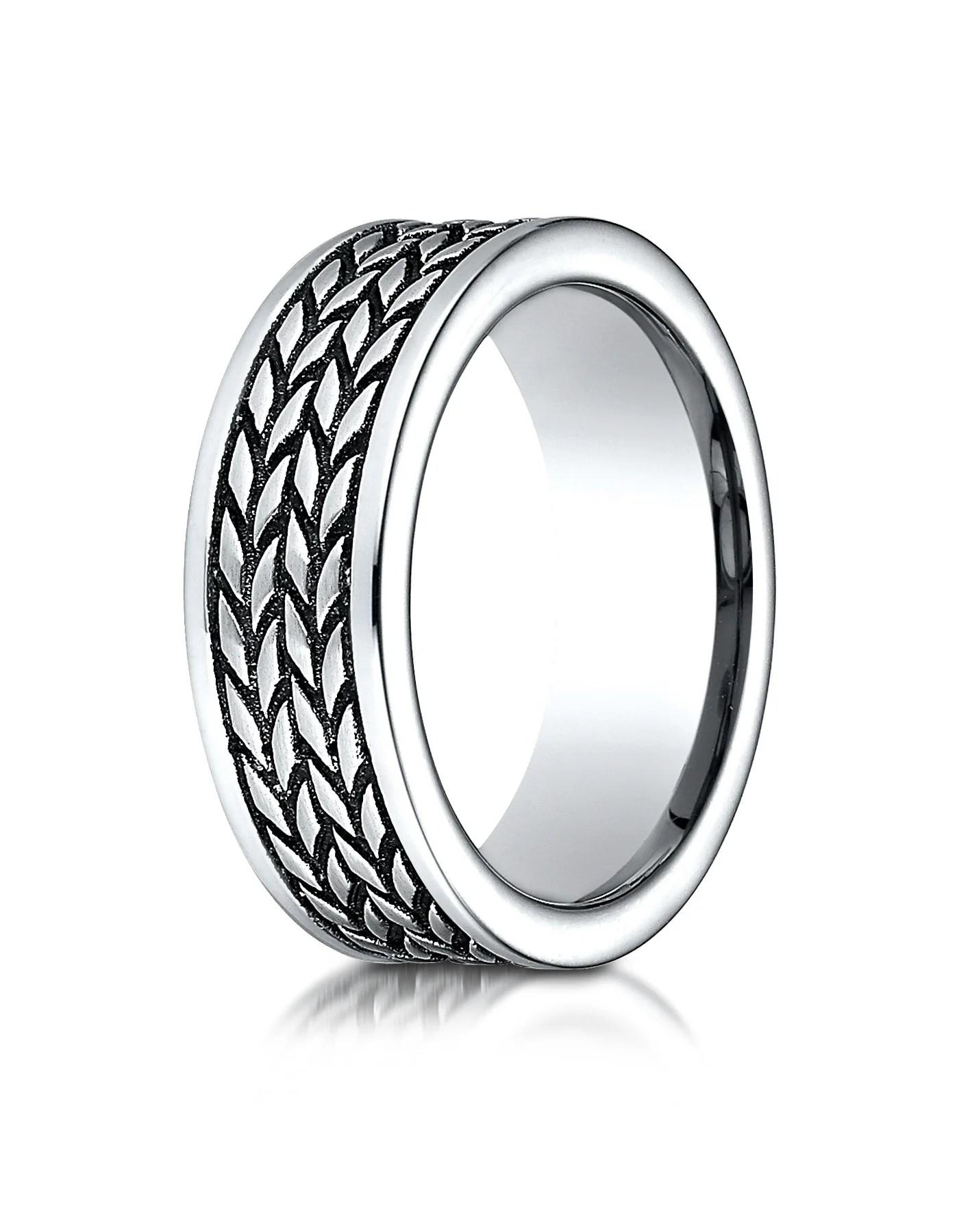 teramo men s cobalt wedding band with tire tread pattern by benchmark cobalt wedding band TERAMO Men s Cobalt Wedding Band with Tire Tread Pattern