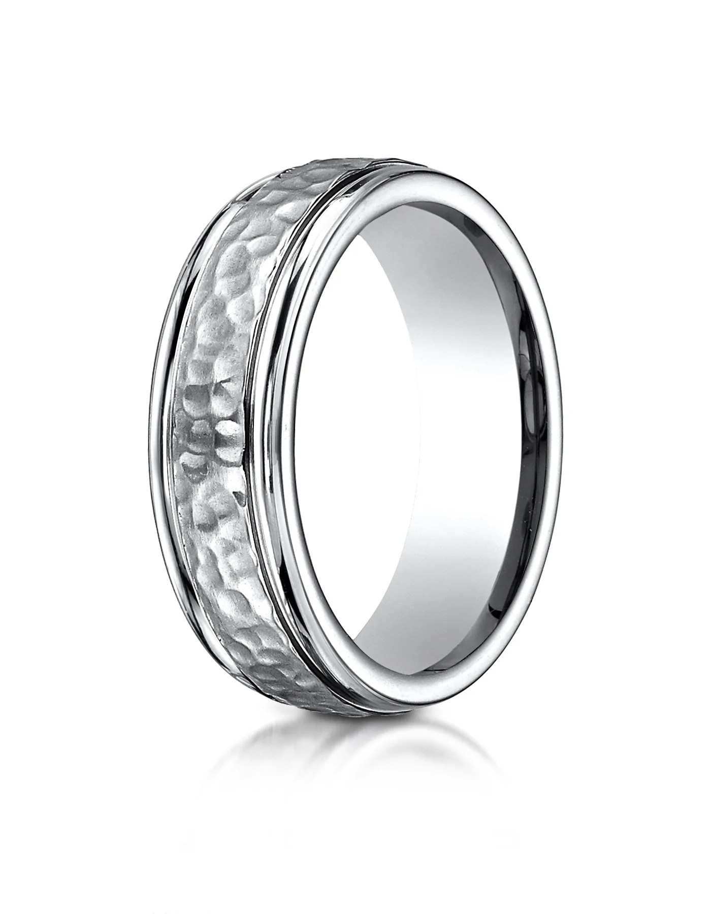 caracas hammered finished titanium wedding band for men by benchmark tungsten hammered wedding band CARACAS Hammered Finished Titanium Wedding Band for Men