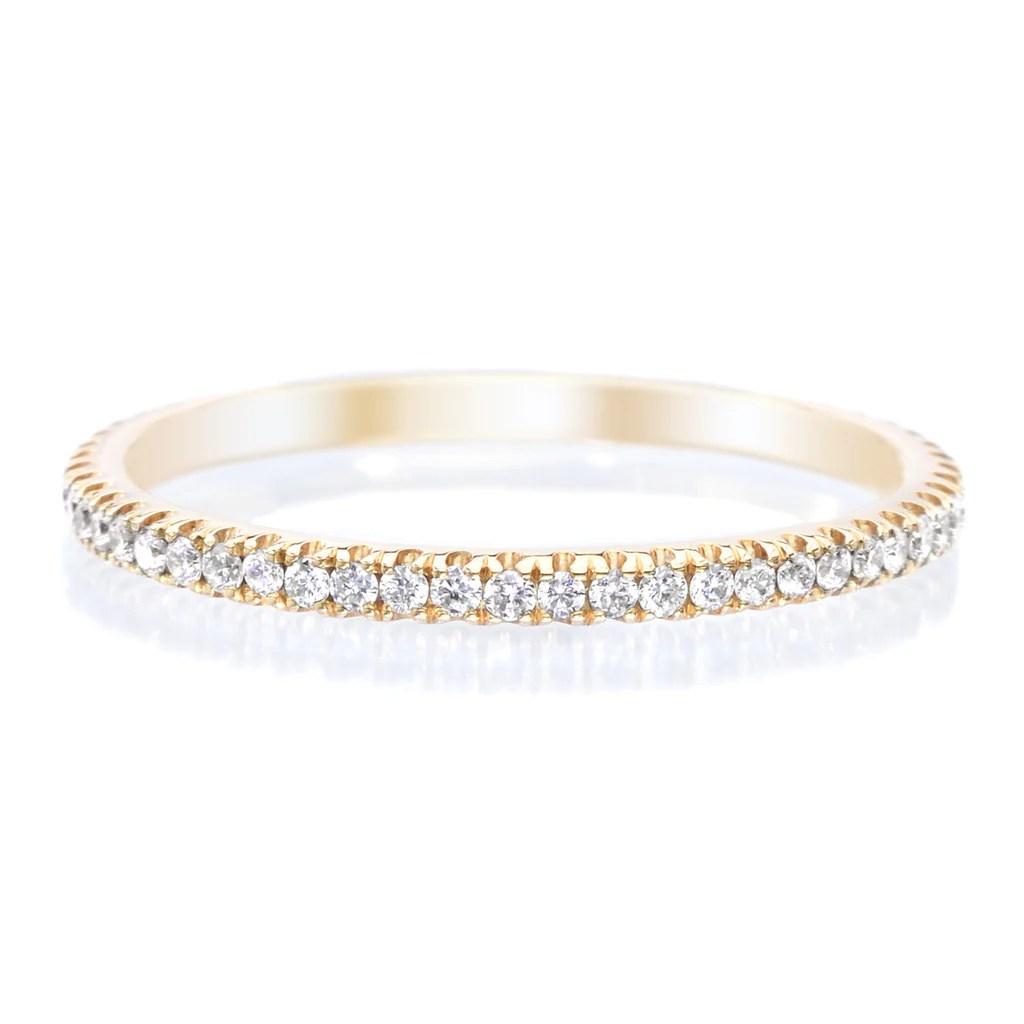 womens diamond wedding rings infinity diamond wedding band 2 00 18K Yellow Gold Stackable Diamond Eternity Band