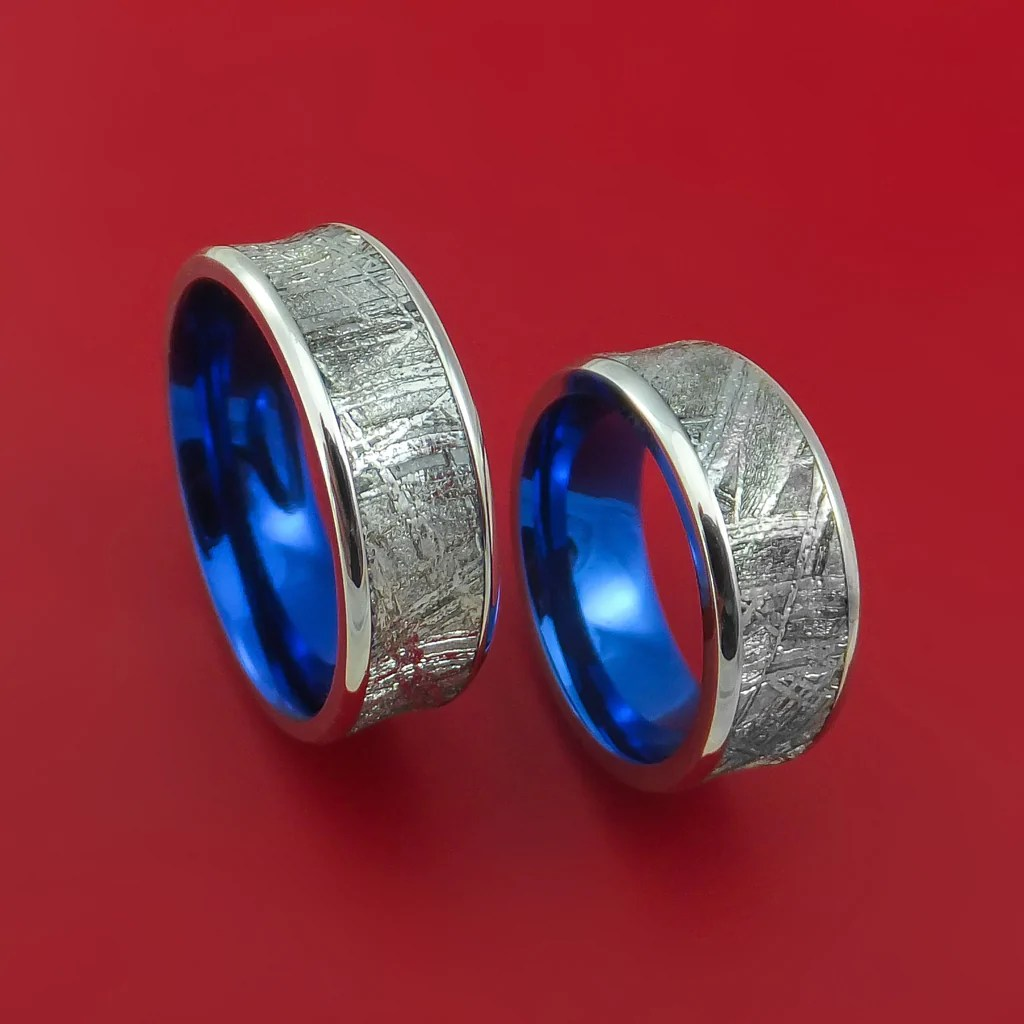 cobalt chrome and meteorite matching wedding band set engagement rings anodized cobalt wedding rings Cobalt Chrome and Meteorite Matching Wedding Band Set Engagement Rings Anodized