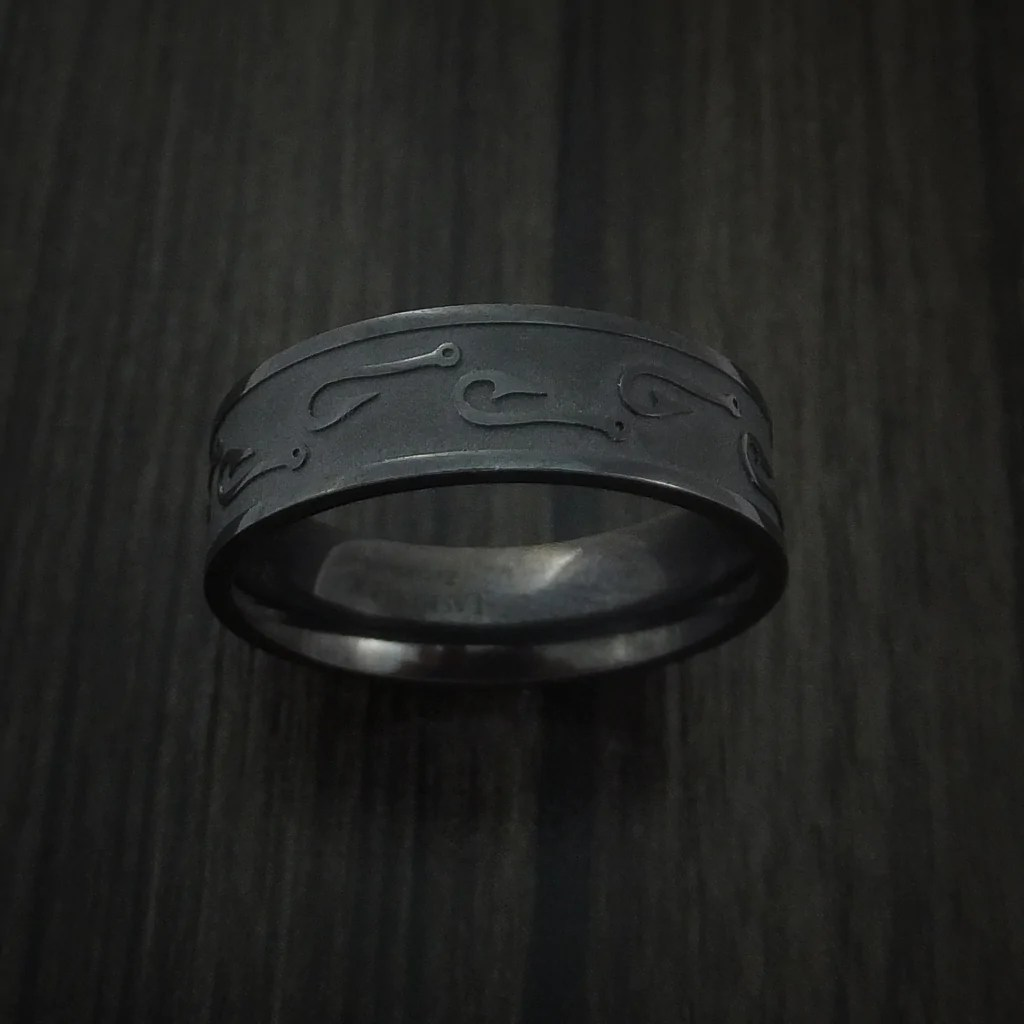 black zirconium fish hook design ring custom made fishing band fish hook wedding ring