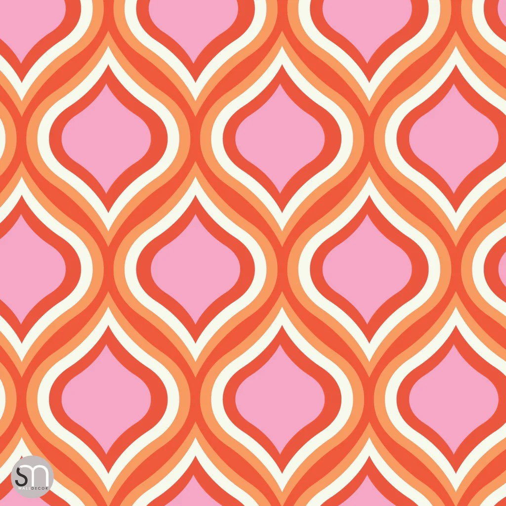 PINKS REDS RETRO - Peel & Stick Wallpaper | GraphicsMesh