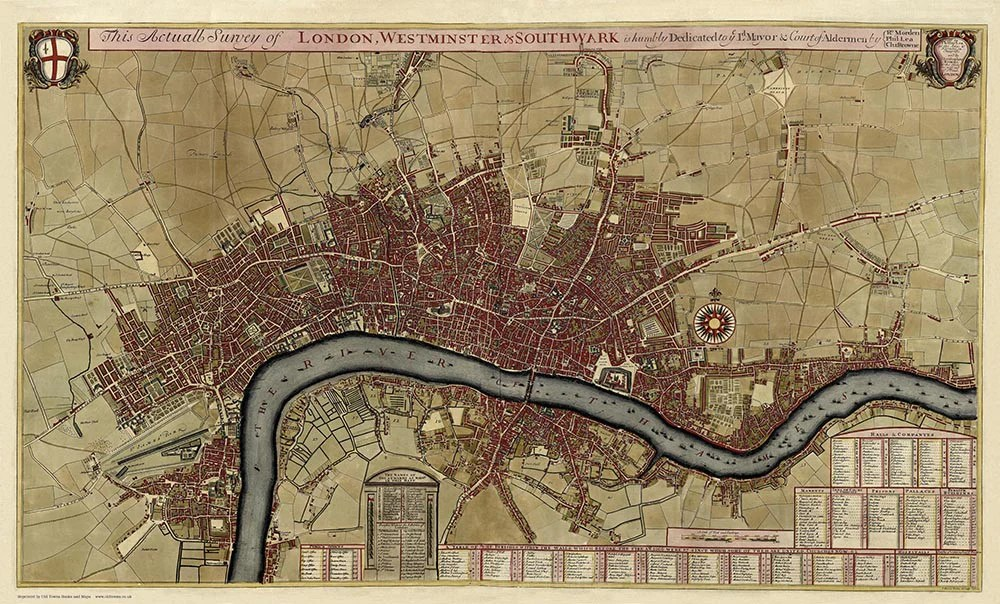 An old map of London  Westminster   Southwark in 1700 by Robert     A Map of London  Westminster   Southwark in 1700 by Robert Morden