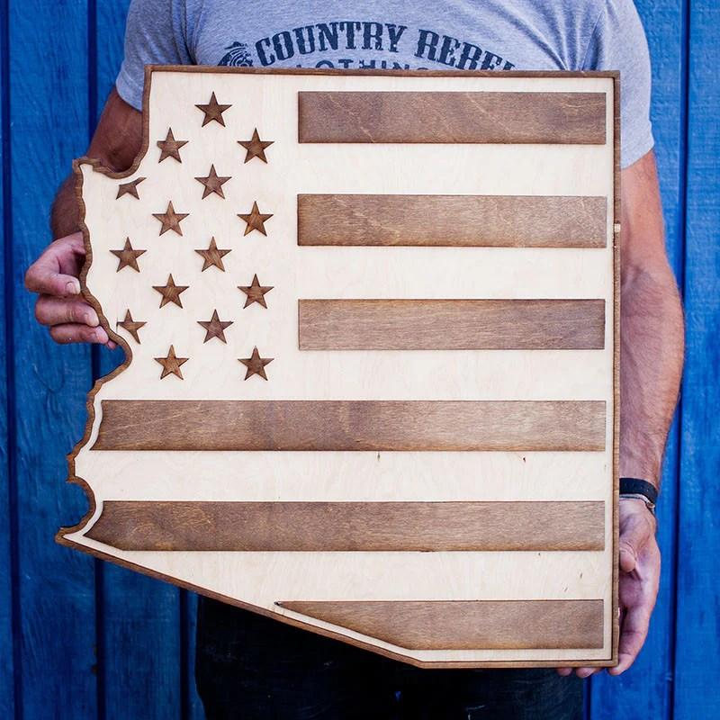 Arizona American Flag Two Tone Wood Wall Art Country Rebel