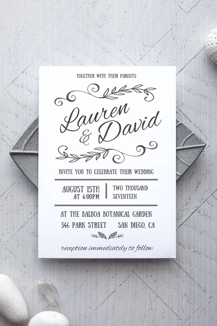 Printable Wedding Invitation Template - Rustic - Alchemie ...