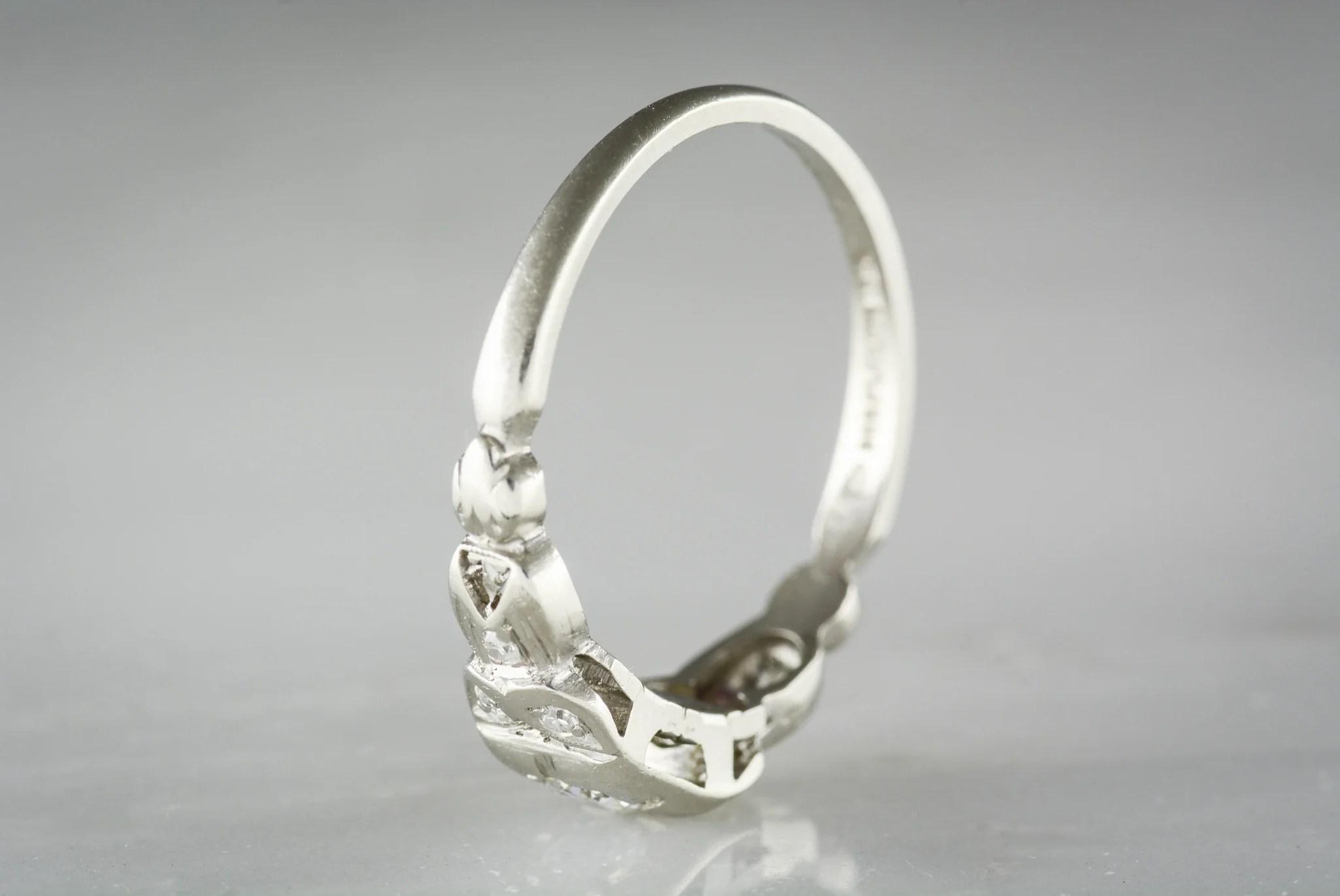 antique old european cut diamond in platinum c s art deco early retro engagement ring with owl motif owl wedding ring Antique Old European Cut Diamond in Platinum c s Art Deco Early Retro Engagement Ring with Owl Motif