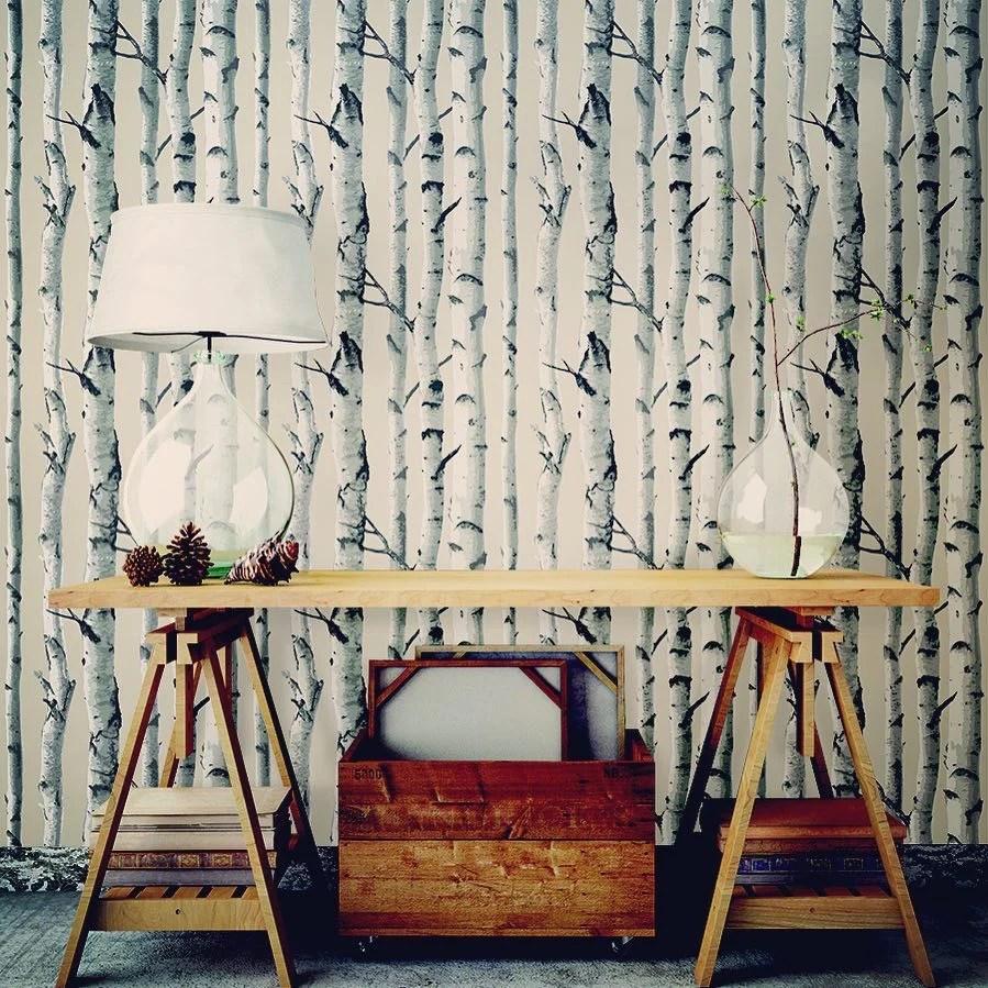 Birch Trees NU Wallpaper Peel Stick Wallpaper   NU1650 – D. Marie Interiors