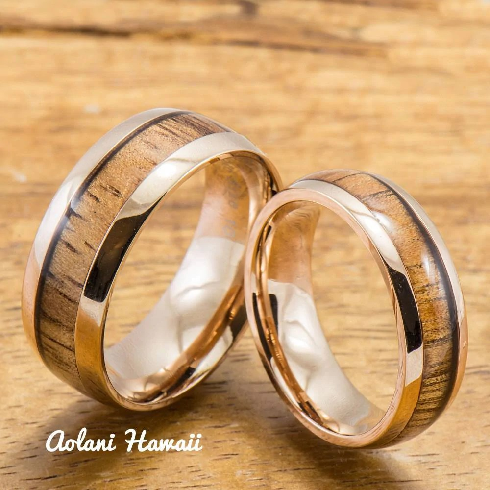 pair of 6mm tungsten rings with hawaiian koa wood inlay assorted set with cubic zirconia hawaiian wedding rings Pair of Tungsten Rings with Hawaiian Koa Wood Inlay Assorted Set with Cubic Zirconia