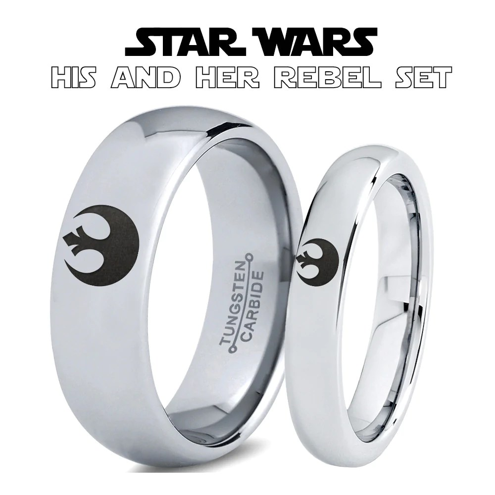ring sets star wars wedding bands Star Wars Rebel Alliance His and Hers Tungsten Ring Set