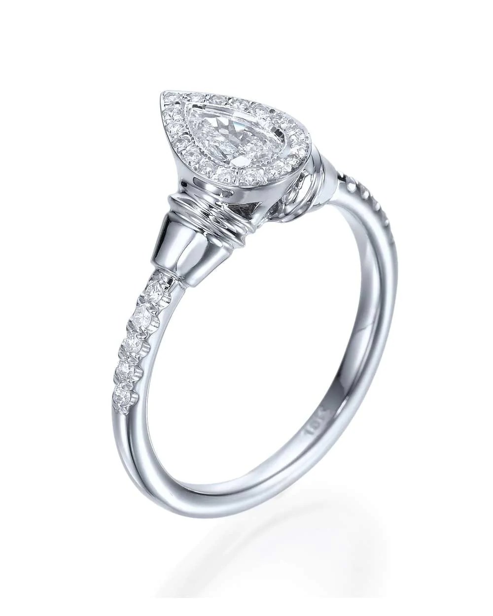 pear shaped wedding ring 1 2 Ct Pear Shaped Diamond Solitaire Engagement