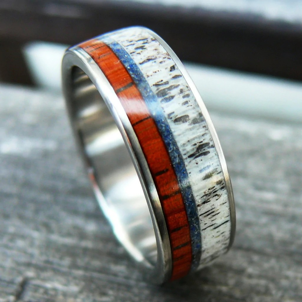 mens deer antler ring titanium antler wedding band mens wedding band Titanium Mens Deer Antler Ring