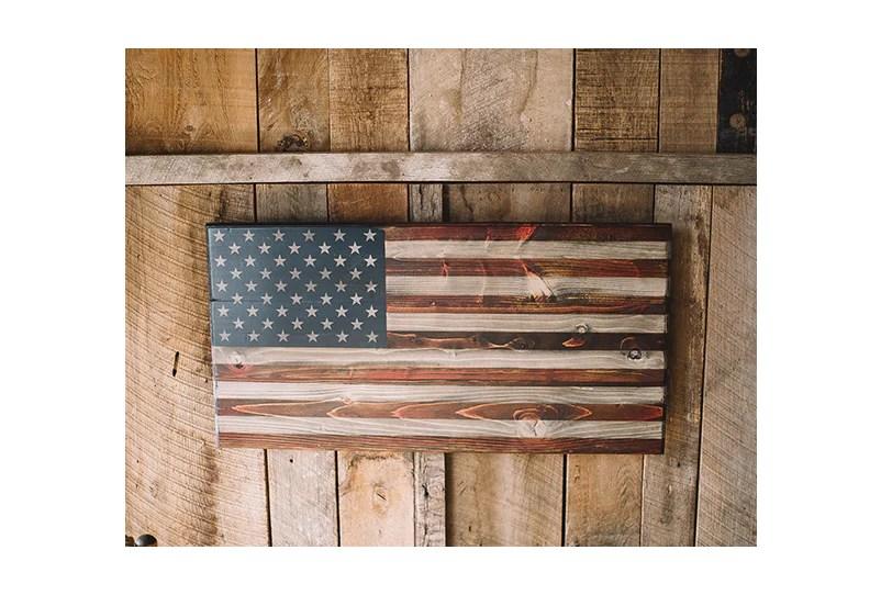 Small Wooden American Flags Phantom Fury Combat Veteran Made Fov