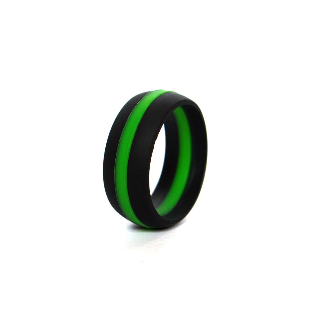 copy of mens black thin red line silicone wedding ring green mens wedding bands Men s BLACK THIN GREEN LINE Silicone Wedding Ring