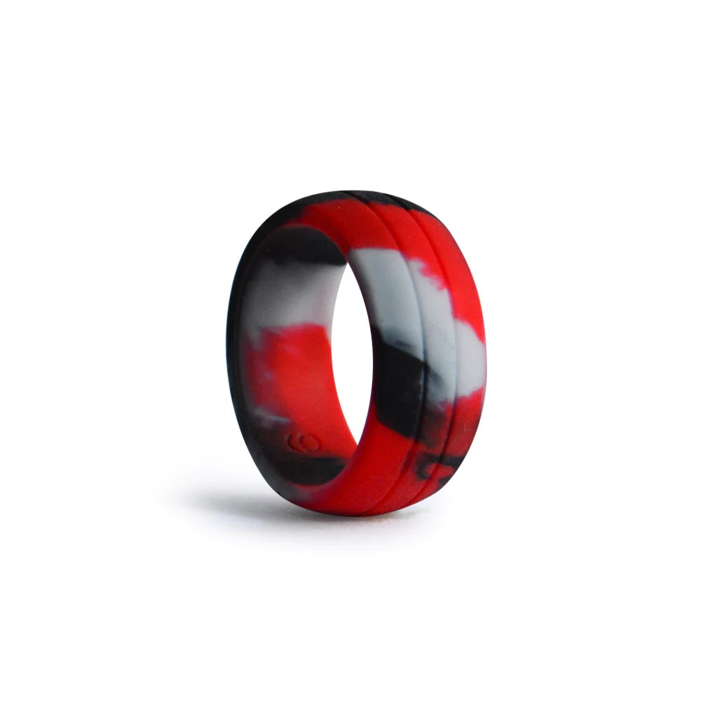 mens double debossed silicone wedding ring red black camo silicone wedding ring Men s Double Debossed Silicone Wedding Ring Red Black Camo