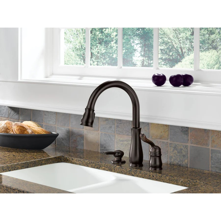 kitchen faucet with soap dispenser delta leland kitchen faucet Delta Leland Collection Venetian Bronze Finish Single Handle Pull Down Kitchen Sink Faucet and Soap Dispenser