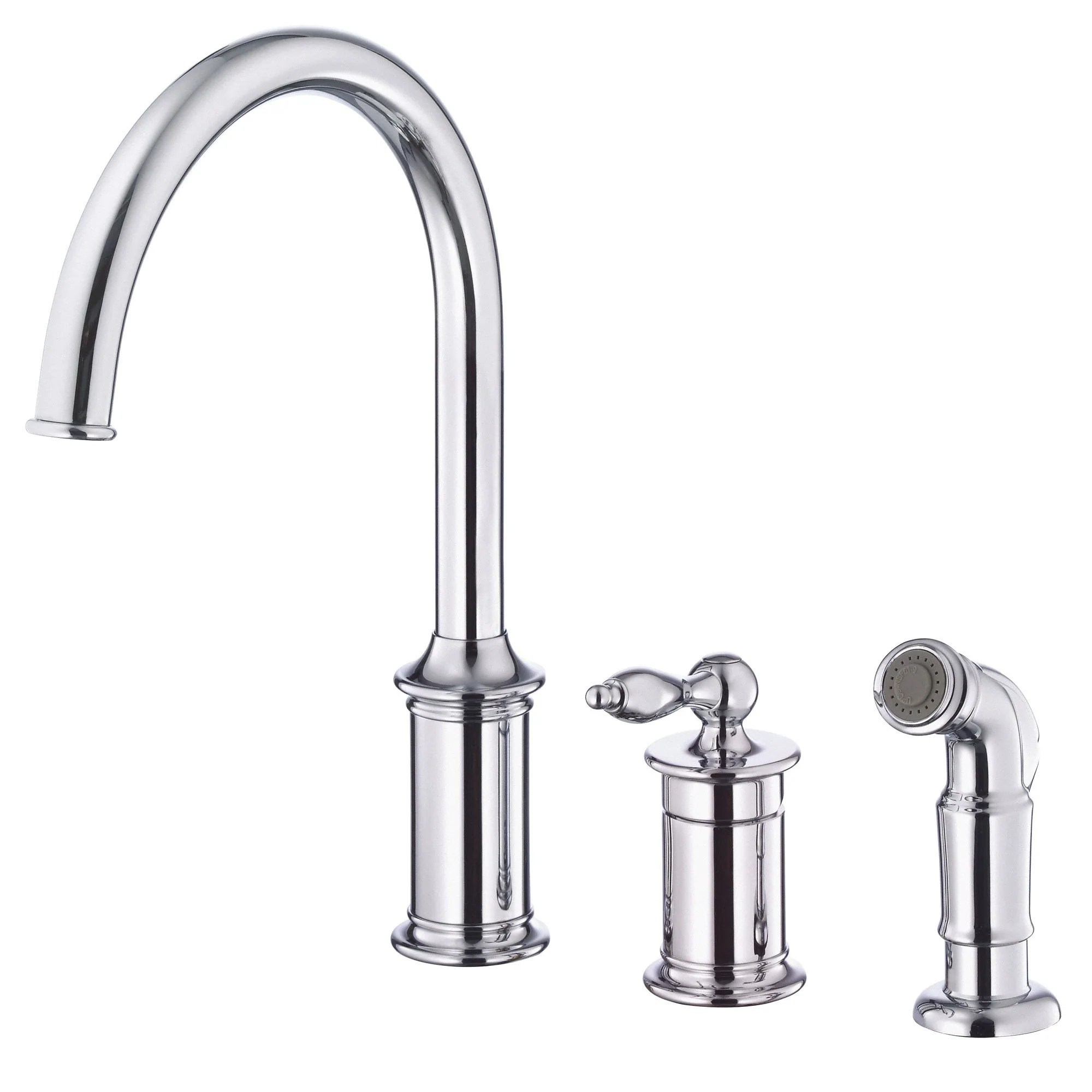danze prince chrome single handle 3 hole widespread kitchen faucet with sprayer widespread kitchen faucet Danze Prince Chrome Single Handle 3 Hole Widespread Kitchen Faucet with Sprayer