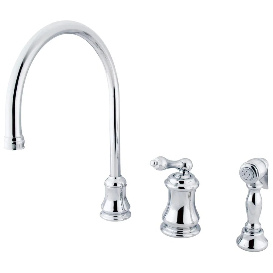 3 hole kitchen faucets 3 piece kitchen faucet Chrome Single Handle Widespread Kitchen Faucet with Brass Sprayer KSALBS