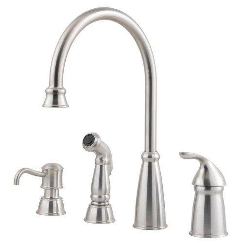 price pfister pfister kitchen faucets Price Pfister Avalon Single Handle Kitchen Faucet with Sidespray and Soap Dispenser in Stainless Steel