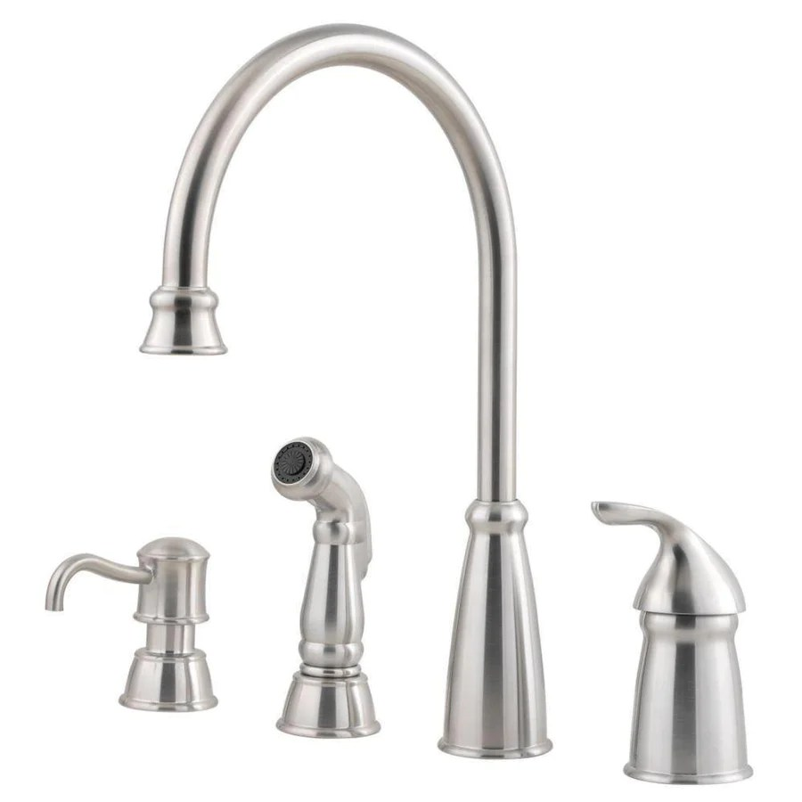 price pfister price pfister kitchen faucet Price Pfister Avalon Single Handle Kitchen Faucet with Sidespray and Soap Dispenser in Stainless Steel