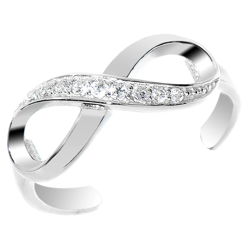 toe rings pinky rings hello kitty wedding ring Sterling Silver CZ Infinity Toe Ring