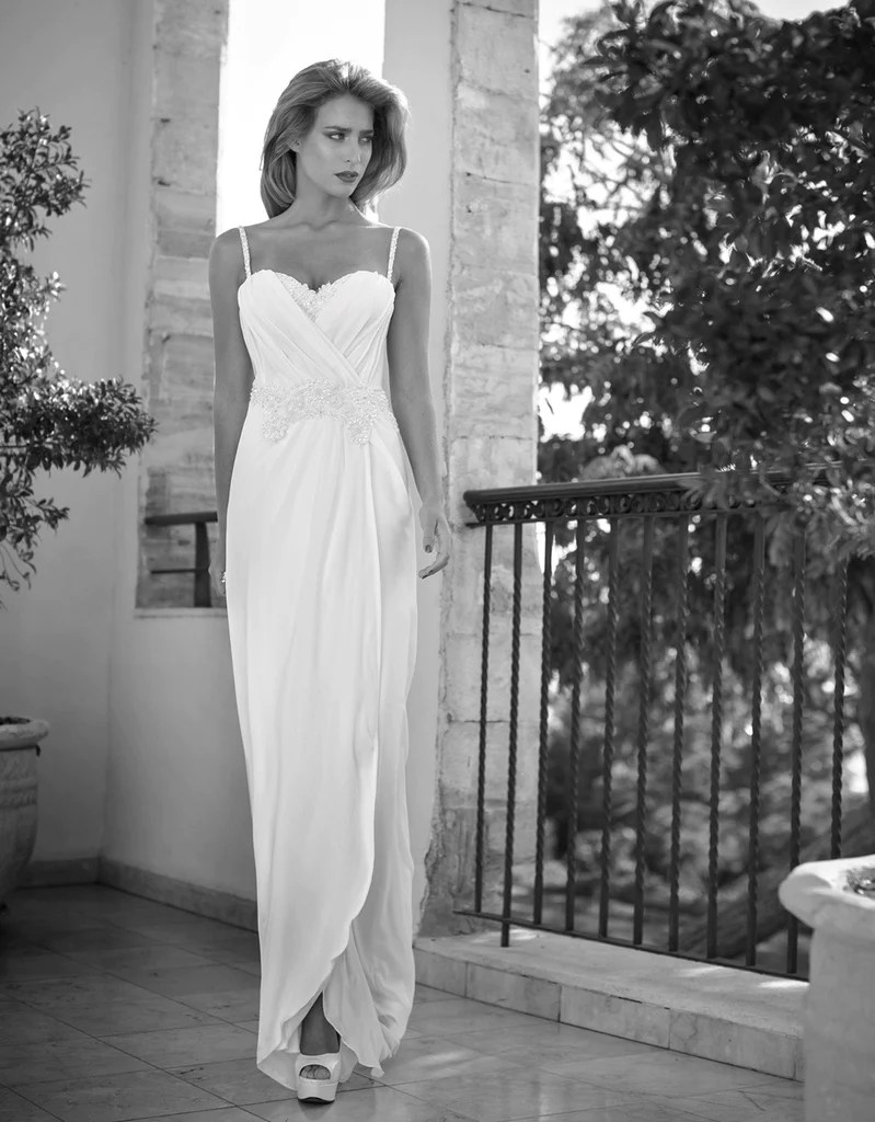 bohemian beach wedding gowns simple bohemian wedding dresses Bohemian Simplicity Spaghetti Strap Chiffon Beach Wedding Dress Autumn Collection