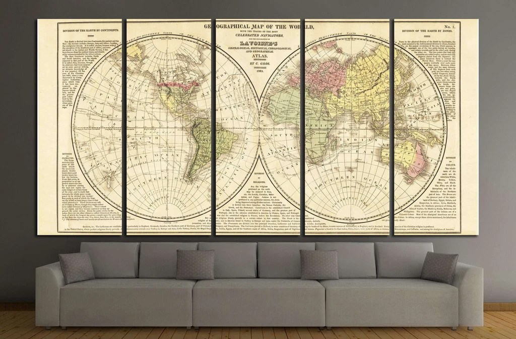 World Map       1492 Ready to Hang Canvas Print     Zellart World Map       1492 Ready to Hang Canvas Print